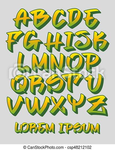 Graffiti font 3D - Hand written - Vector alphabet