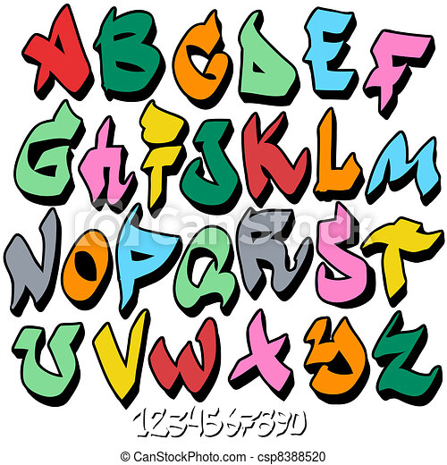 graffiti font alphabet vector clipart search illustration rh canstockphoto ca fonts clip art font clipart letters free