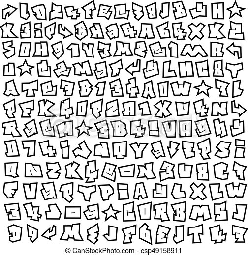 Graffiti Font And Number Alphabet Sketch Page