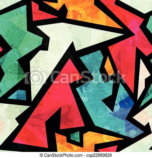 graffiti geometric seamless pattern with grunge effect - csp22889826