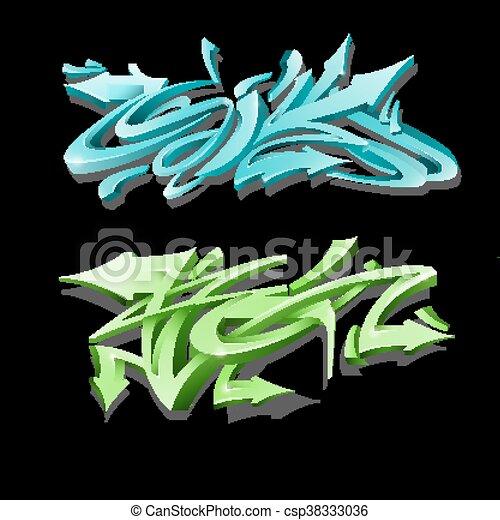 Graffiti lettering on black background. Street art style. - csp38333036