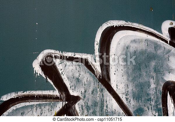 Graffiti on a green metal background - csp11051715