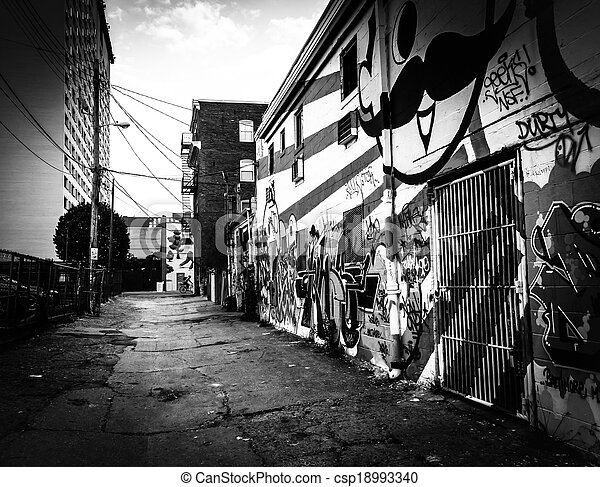 Graffiti on walls of a building in Baltimore, Maryland. - csp18993340