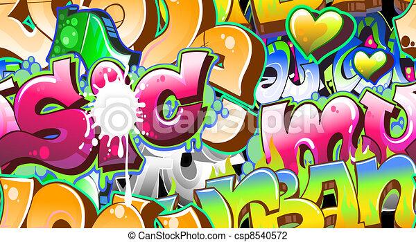 Graffiti Urban Art Background. Seamless design - csp8540572