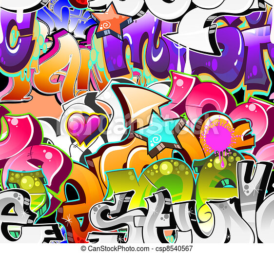 Graffiti Urban Art Background. Seamless design - csp8540567