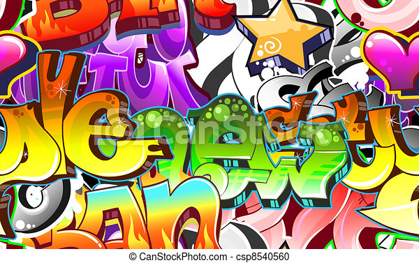 Graffiti Urban Art Background. Seamless design - csp8540560