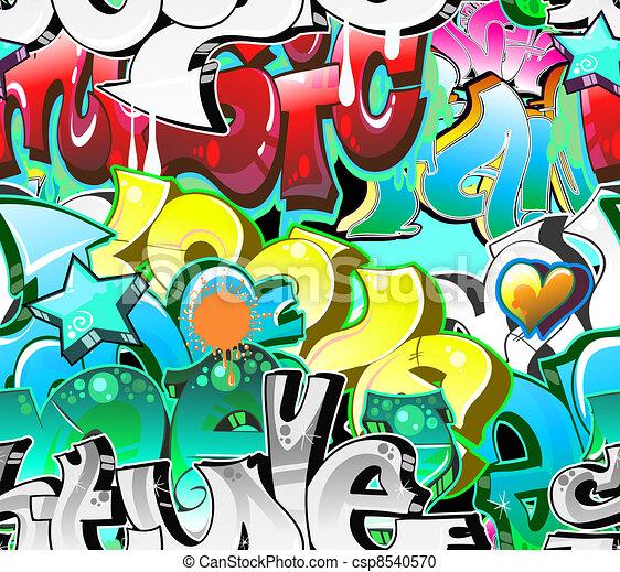 Graffiti Urban Art Background. Seamless design - csp8540570