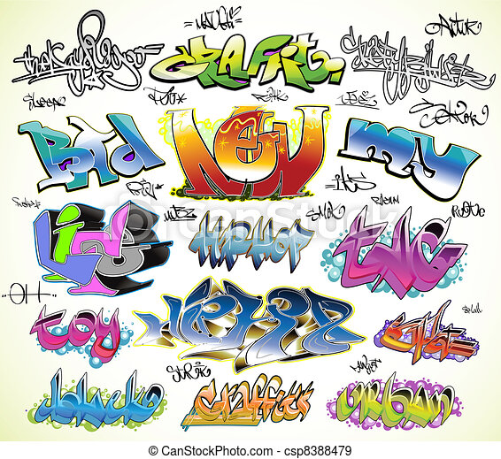 Graffiti urban art vector set - csp8388479