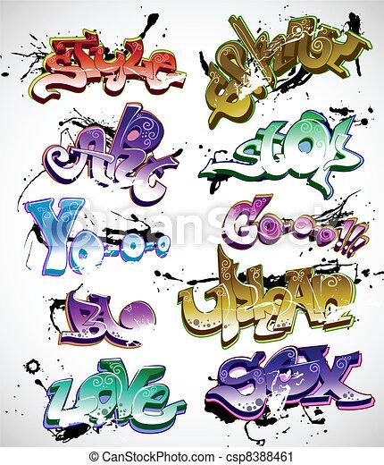 Graffiti urban art vector set - csp8388461