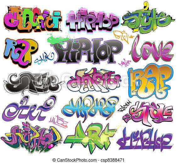 Graffiti urban art vector set - csp8388471
