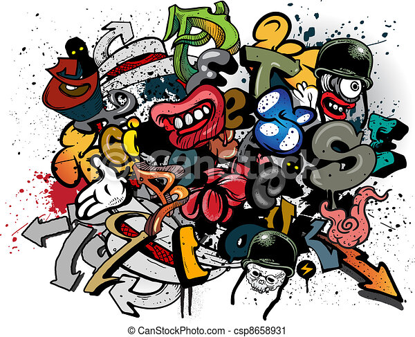 graffiti elements on white vector clip art search illustration rh canstockphoto com american graffiti clipart graffiti wall clipart
