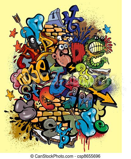 graffiti vector elements  - csp8655696