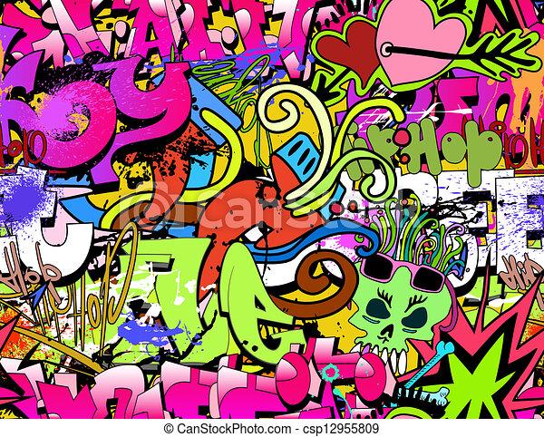 Graffiti wall art background. Hip-hop style seamless texture pattern - csp12955809