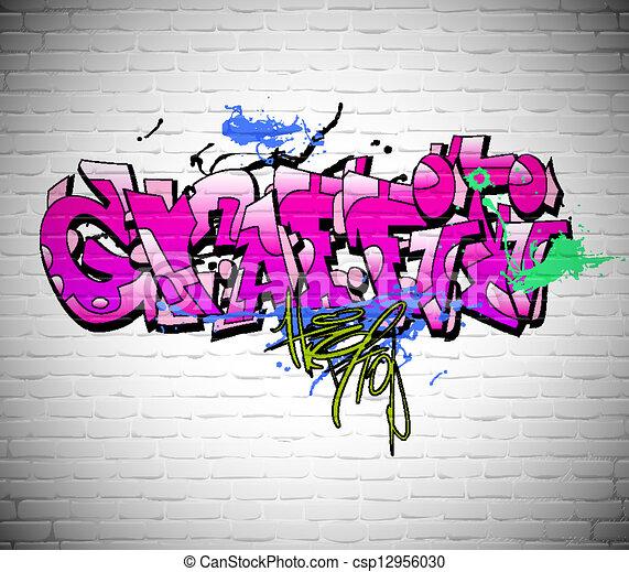 Graffiti wall background, urban art - csp12956030