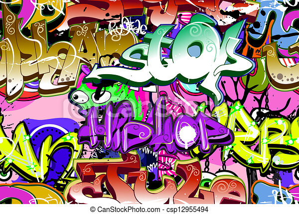 Graffiti wall. Urban art vector background. Seamless hip hop texture - csp12955494