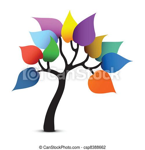 grafico, colorare, albero, fantasia, vettore, design. - csp8388662