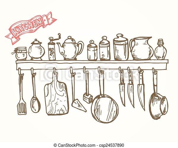Grafico mensola utensils stilizzato artistico for Disegni da colorare cucina