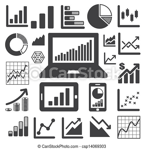 grafico, set, affari, icona - csp14069303