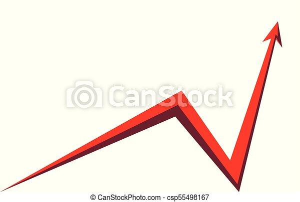 Grafico Sfondo Bianco Freccia Rosso Su Fondo Grafico Freccia