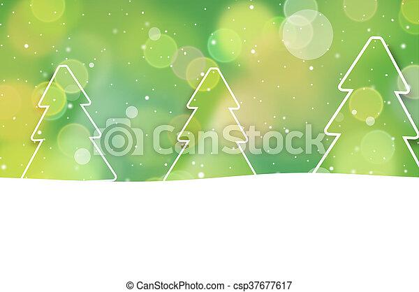 grafik, bäume, bokeh, grüner hintergrund, design, weihnachten - csp37677617