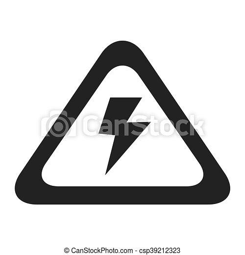 Grafik, elektrizität, zeichen, hoch, vektor, spannung, ikone ...