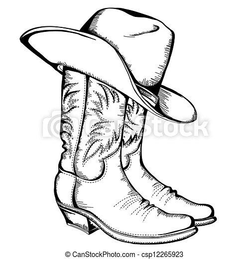 grafikus, cowboy, elszigetelt, csizma, ábra, hat.vector - csp12265923