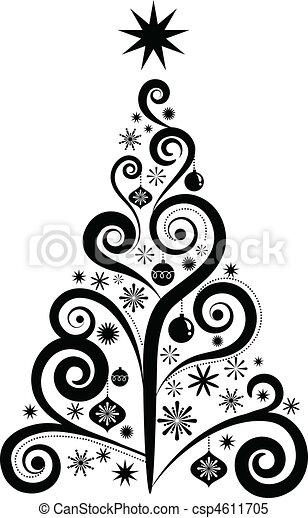 grafikus, fa, karácsony - csp4611705