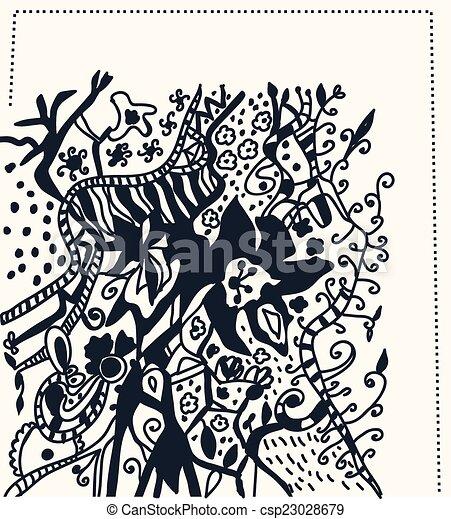 grafisch, -, hand, beweegreden, ontwerp, floral, getrokken, kaart - csp23028679