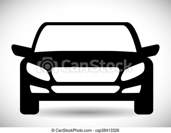 grafisk, transport, bil, vektor, svart, icon., design. - csp38413326