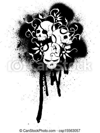 Patrón de cráneos de graffiti cartón - csp15563057