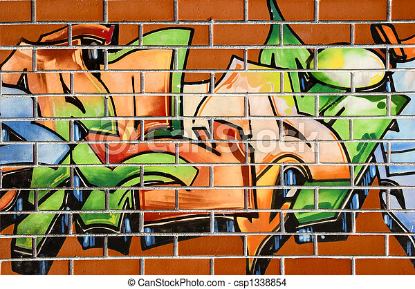 Grafitti Painting Brick Wall Painted With Grafitti Abstract Background Canstock ✓ free for commercial use ✓ high quality images. https www canstockphoto com grafitti painting 1338854 html