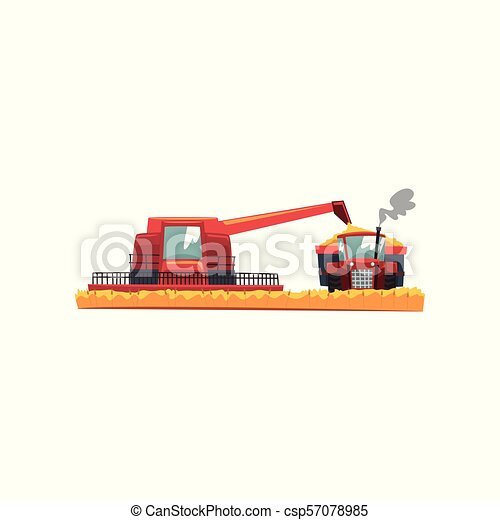 Grain combine harvester and tractor working in field, agricultural machinery vector Illustration on a white background - csp57078985