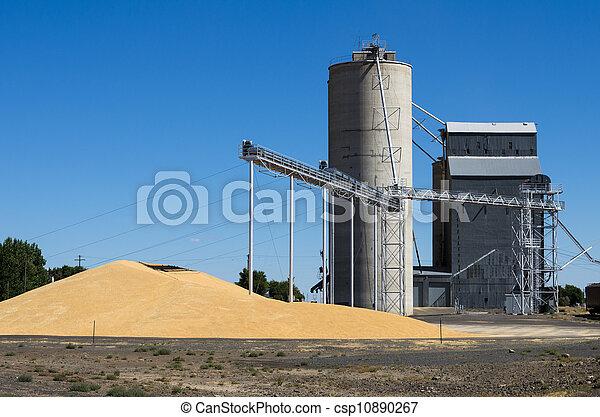 Grain elevator with pile of grain - csp10890267