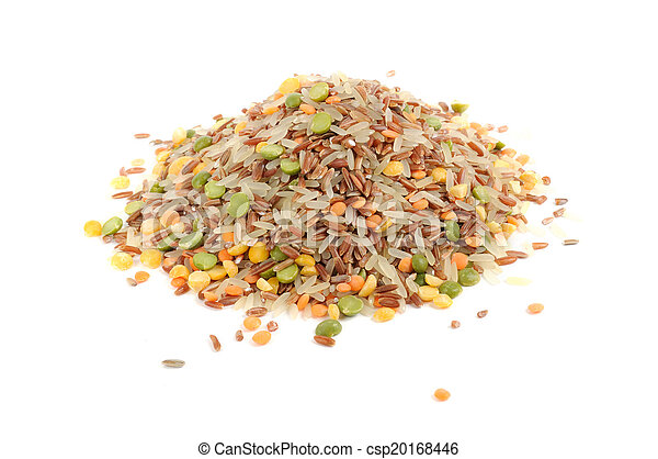 Grain Mix (Red Rice, Parboiled Rice, Split Peas and Lentils) Isolated on White Background - csp20168446