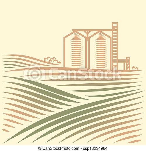 grain, paysage, ascenseur, une - csp13234964