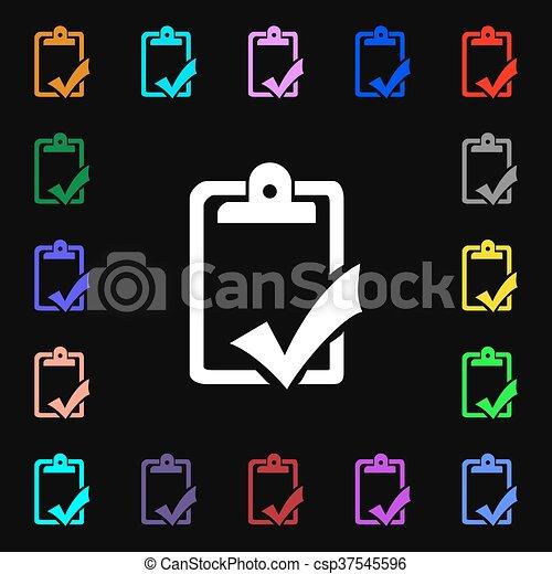 Gramática, completo, colorido, lotes, signo., trabajo, prueba ...