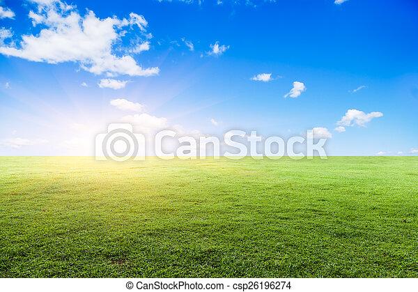 gramado, céu azul, sob - csp26196274