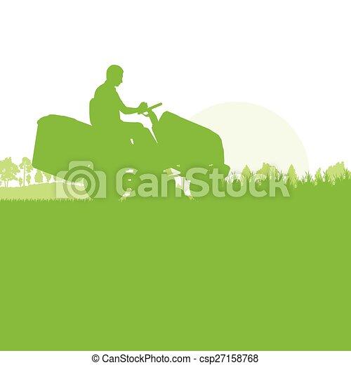 gramado, grama cortante, movedor, homem - csp27158768