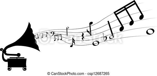 gramophone and melody - csp12687265
