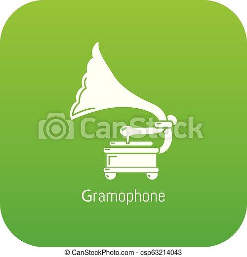 Gramophone icon green vector - csp63214043