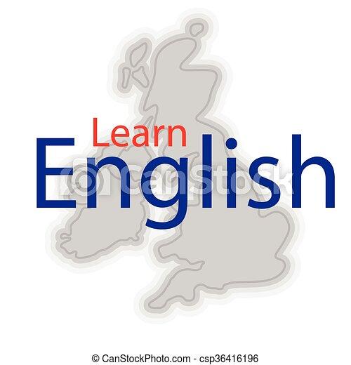 Gran inglés británico. Un simple mapa de gran bretaña con texto de muestra  aprende inglés.