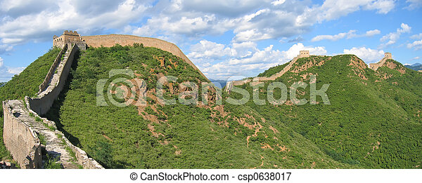 gran pared, panorama, ond, china, china, montañas - csp0638017