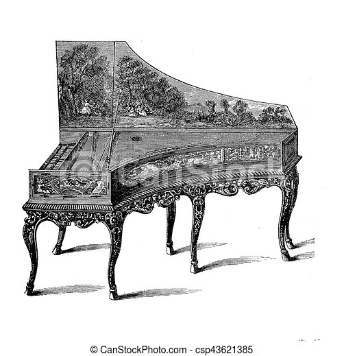 Gran piano XVIII century, vintage engraving - csp43621385