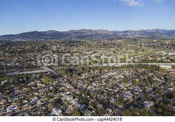 Granada Hills San Fernando Valley Los Angeles Aerial - csp44424018