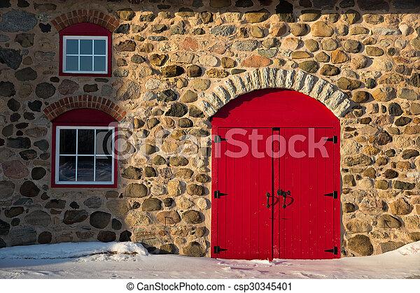 granaio, porta, pietra, vecchio, rosso, luminoso - csp30345401