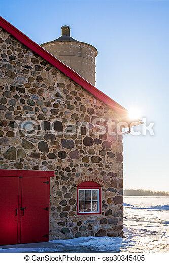 granaio, porta, pietra, vecchio, rosso, luminoso, sunflare - csp30345405