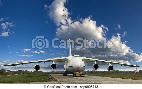grand, avion cargaison, terrestre - csp9908748