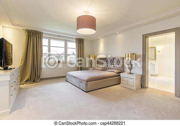 Grand, beige, lit, chambre à coucher. Doré, salle bains, chambre à ...