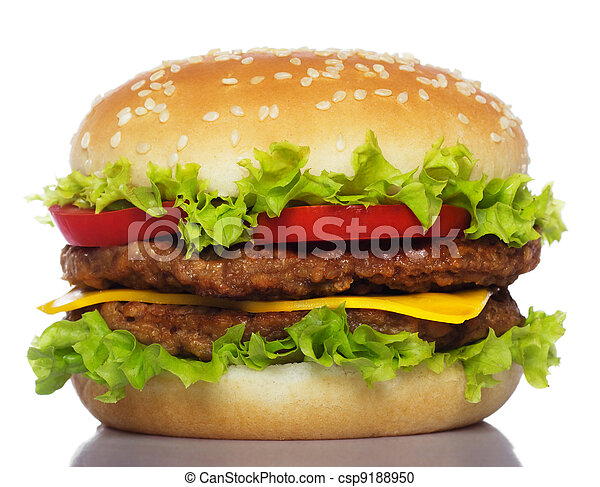 grand, blanc, hamburger, isolé - csp9188950