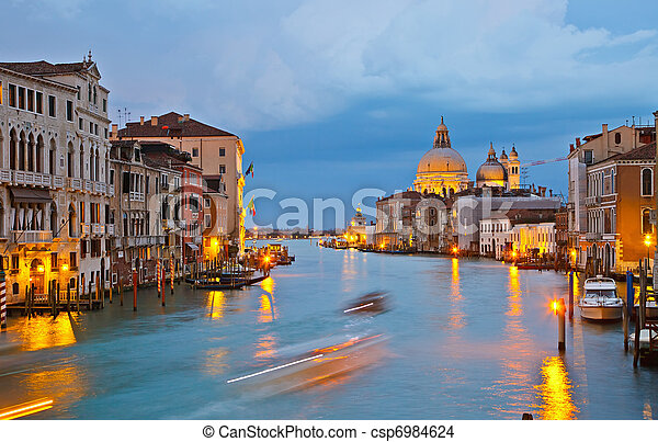 Grand canal at evening, Venice - csp6984624